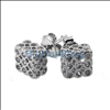 3D CZ Bezel Cube 3x3x2 .925 Silver Micro Pave Earrings