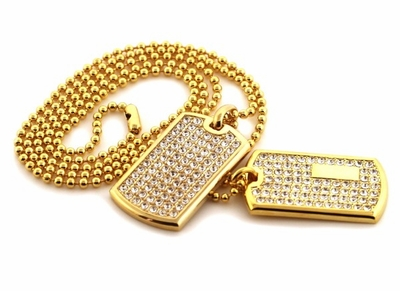 Hip hop bling has the hottest iced out pendants for sale cop a new gold double bling bling dog tag set aloadofball Images