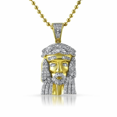 Gold Micro Jesus Pendant Rhodium Prongs