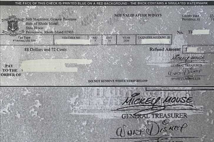 Rhode Island Erroneously Mailed Checks Signed by Walt Disney, Mickey Mouse